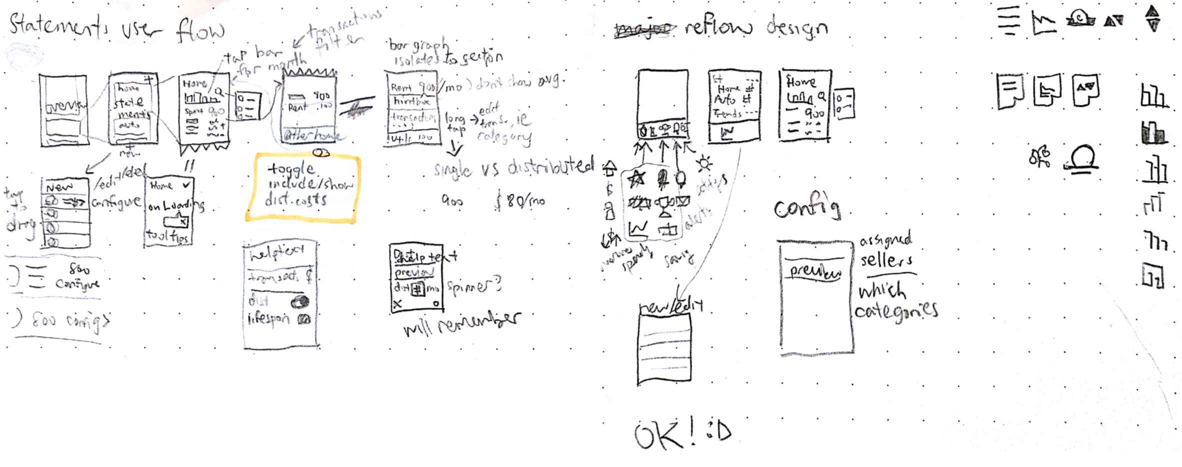 Annotated rough sketches for current iteration