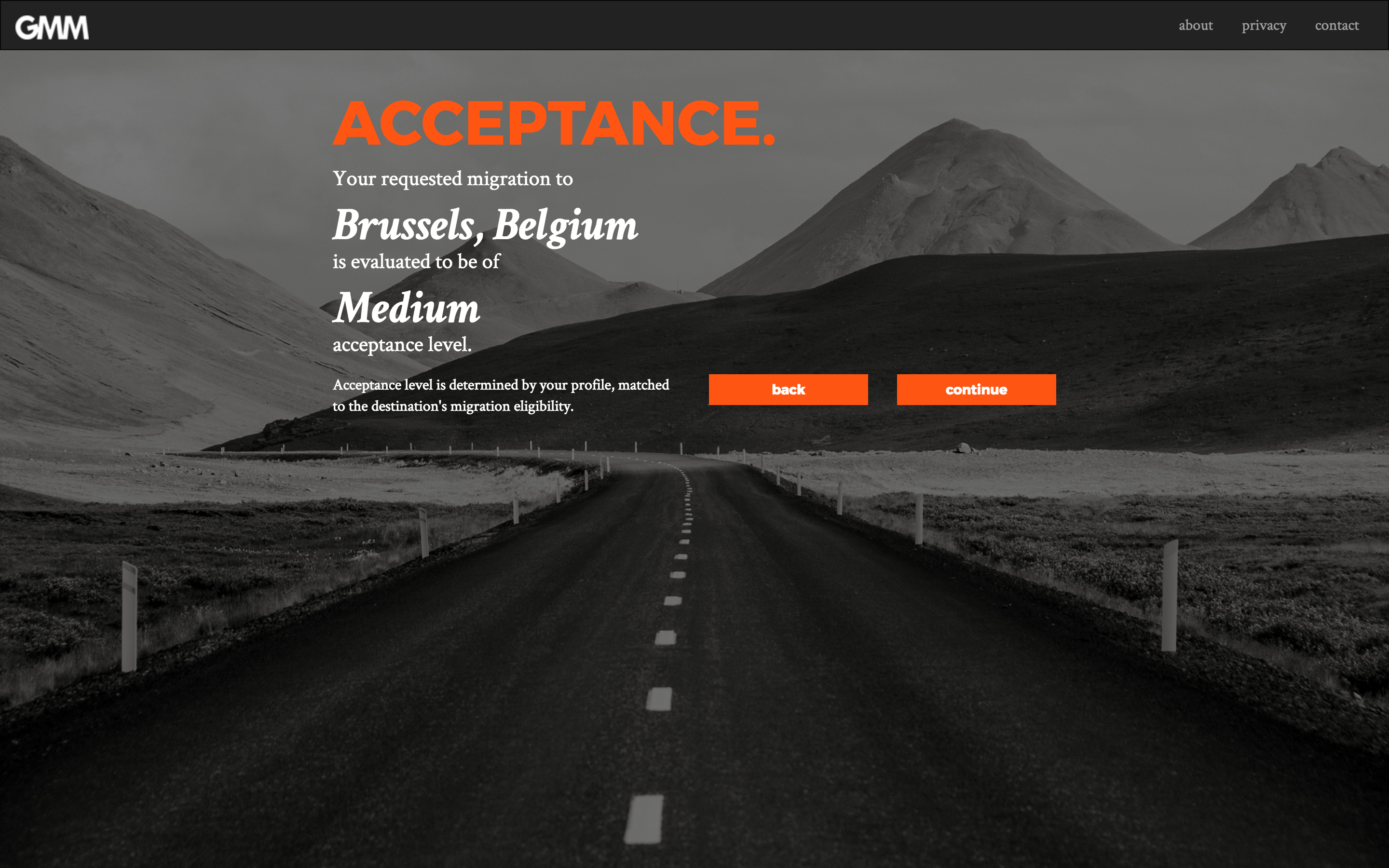 GMM prototype - acceptance level page